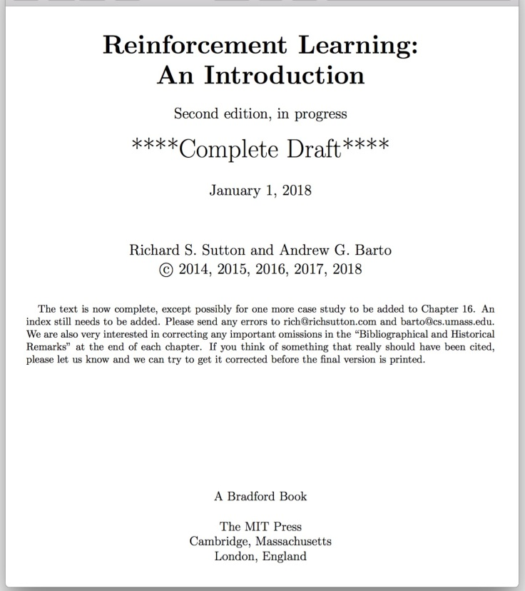 Reinforcement Learning Introduction - book cover